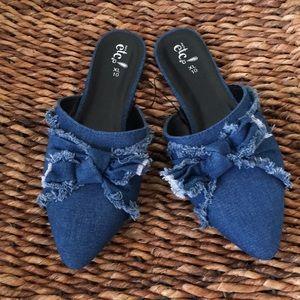 Shoes - Cute denim slip on shoes
